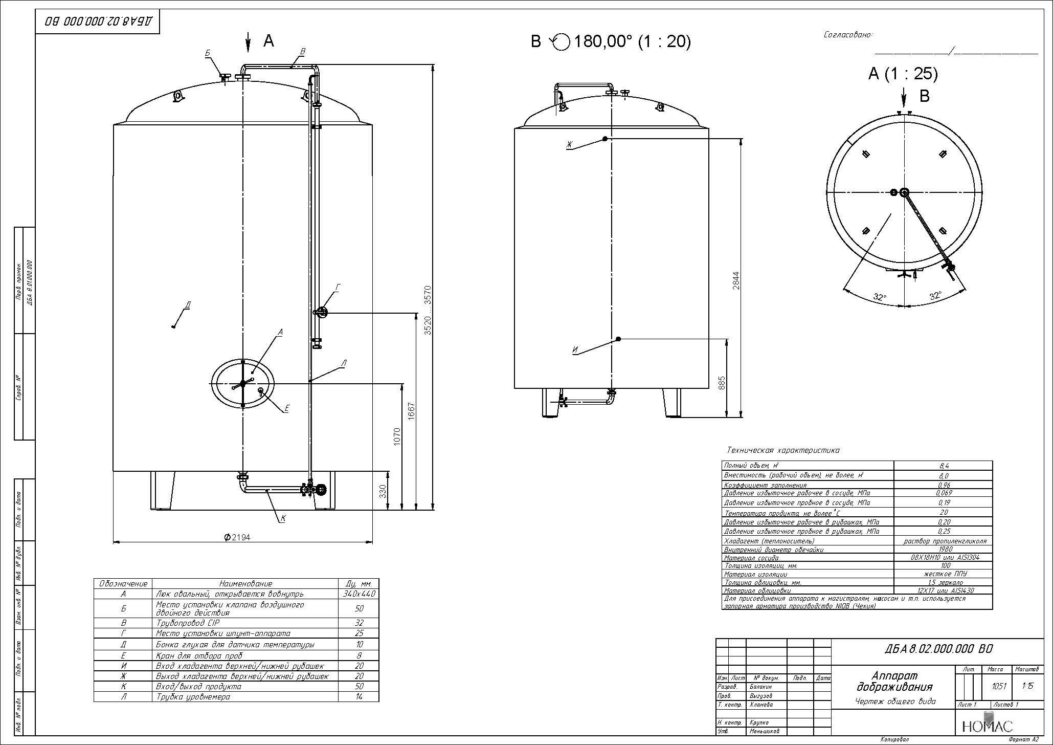 Аппарат дображивания ДБА 8,0 м³ - купить у производителя